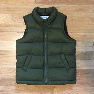Old Navy hunter green toddler boy puffer vest.